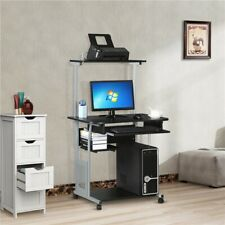 Small Rolling Computer Desk Study Writing Work Table Printer Shelf Home Office