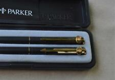 NIB Parker France PL Ballpoint Pen & Pencil set Black / Gold w/ Unique Clip