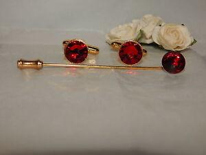 G/P Dark Siam Red Cufflinks & Cravat/Stick Pin -Mens-Ladies-Wedding-Gifts