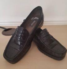 "Bally Ladies ""Taglia"" Black Croc Real Leather Loafers Shoes UK 2.5 EU 35.5"