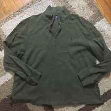 POLO RALPH LAUREN 1/4 Zip Sweater Jacket Mens XL Olive Green 100% Cotton AA176