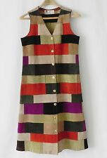 Vtg Winkelman's Duster Leather Patching Multi-Color Sleeveless Size M England
