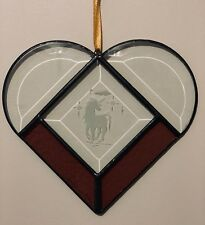 Stained Glass Sun-catcher Heart Shape w/ Etched Unicorn Artist Signed 7 X 5 LOVE