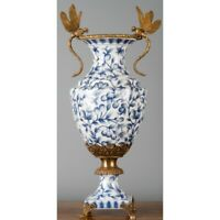 PORCELAIN IN BRONZE ORMOLU BLUE AND WHITE FLEUR DRAGONFLY VASE