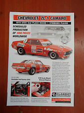 BROCHURE FOR CLASSIC CARLECTABLES 1:18 CHEVROLET ZL-1 CAMARO 1972 ATCC 2ND PLACE