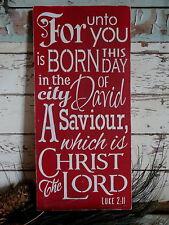 Rustic Christmas Jesus Christ Christian Luke 2:11 Savior Wooden Sign Decoration