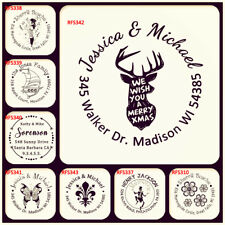 Personalized Reindeer Head Merry Christmas Xmas Return Address Rubber Stamp Seal