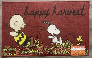 """Peanuts Snoopy Happy Harvest Accent Rug 20""""x32"""" Fall Holidays Thanksgiving New"""
