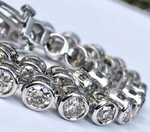 """8.00 Ct. Diamond 14k White Gold Tennis Bracelet GIA $12,500 20.2 Grams 7.25"""""""