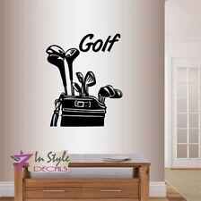 Vinyl Decal Golf Clubs Bag Golfing Golfer Sports Wall Sticker Mural Decor 1568