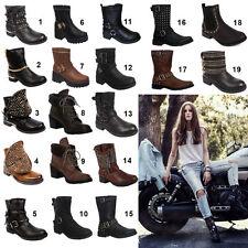 Women's Synthetic Leather Zip Biker Boots
