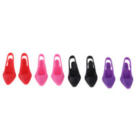4 Pairs Miniature High Heel Shoes for 1/6 Dolls House Figures Accessories