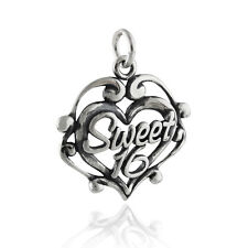 Sweet 16 Heart Charm - 925 Sterling Silver - Teen Birthday Special Filigree NEW
