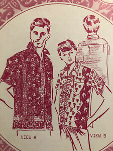 Patterns Pacifica 8006 Men's Teen Hawaiian Shirt Sewing Pattern Sz M 38/40 UC FF