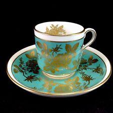Minton Aqua Blue Green Gold Demitasse Cup Saucer Teacup Set Vintage Flowers