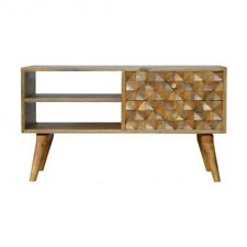 Hand Carved Cube Design Media Unit Scandinavian Style With Mid Century Legs