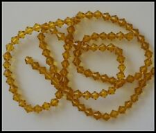 6mm Bicone Glass Beads AMBER GOLDEN YELLOW x 2 strands approx 110 Craft Jewelry