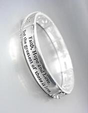 NEW Inspirational FAITH HOPE LOVE Silver Filigree CZ Crystals Stretch Bracelet