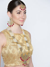 Indian Bollywood Wedding Red Raani Haar Necklace Earring Maang Tikka Diwali Jwel