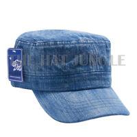 Plain Castro Cadet Hat Military Army Summer Cap Patrol Brim Style Denim Blue
