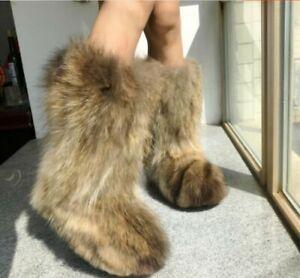 New Women Winter Fluffy Genuine MInk Original Fur Warm Mid Calf Boots Snow Boots