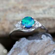 Zirconia Round Natural Australian Doublet Black Opal Ring 925 Sterling Silver 7