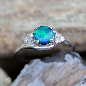 Handmade Jewelry Blue Opal Opal Ring Opal Jewelry Silver Rings Doublet Engagement Ring Doublet Australian Opal Natural Gem