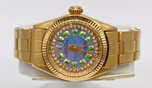 $25,000 ROLEX Oyster PRESIDENT BLUE Emerald Diamond 18k Yellow Gold Ladies WATCH