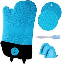 Kitchen gloves cooking heat resistant silicone Oven Mitts & Pot Holders Set 7pcs