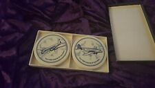 KLM FIRST AIRLINE OF THE WORLD - SET OF 4 CERAMIC PLATES COINS DECORATIVE w/PADS