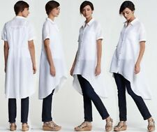 NWOT Eileen Fisher White Linen Hi Low Shirt Dress  S $198