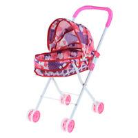 Foldable Simulation Pushchair Stroller Buggy Pram Pretend Parent Kids Role Play