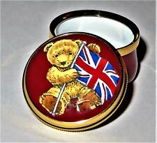 CRUMMLES ENGLISH ENAMEL BOX - TEDDY BEAR & BRITISH FLAG -UNITED KINGDOM- WINSTON