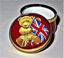 CRUMMLES ENGLISH ENAMEL BOX - TEDDY BEAR & BRITISH FLAG -UNITED KINGDOM- WINSTON