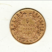 NAPOLEON III  TETE LAUREE 5 FRANCS OR /GOLD 1866 A  cote 280 euro SUP480 SPL