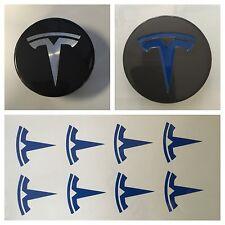 8pc Blue TESLA T Center Cap Vinyl Overlay Sticker Decal Logo Overlay Graphics
