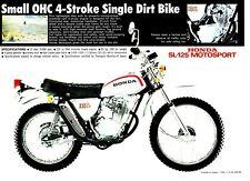 1972 HONDA SL125 K1 Trail 1 page Motorcycle Brochure NOS