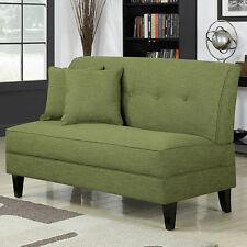 Armless Loveseat Apple Green Settee Living Room Wood Sofa Bench Chair Sitting Ne