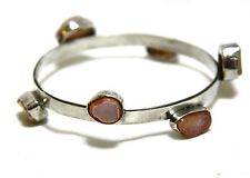 Natural Bezel Set Agate Bangle Bracelet in Solid Sterling Silver  from Canada