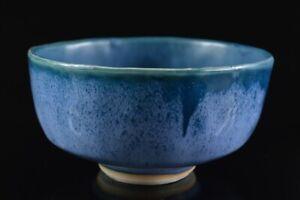 L7908: Japanese Kiyomizu-ware Blue glaze TEA BOWL Green tea tool Tea Ceremony