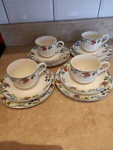 Poole Pottery CRANBORNE 16 Piece Tea Set 4 x trio Tea Cups Plates Saucers