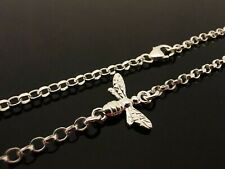 "2.3mm Sterling Silver Bracelet Or Ankle Chain Anklet ~ Bee Charm 7"" 8"" 10"" 11"""