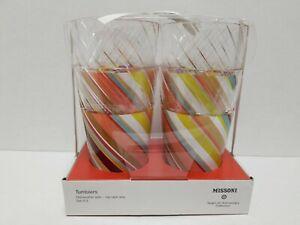 Missoni for Target 4pk 22oz Embossed Highball Tumbler Set Colore Print NEW Tall