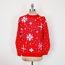 Vintage 80s Red & White Snowflake Print Ugly Christmas Xmas Sweater Jumper S M L