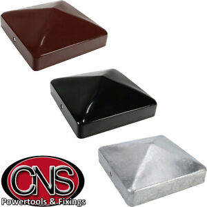 METAL FENCE POST CAPS | Oxide Red / Galvanised / Epoxy Black | ALL SIZES