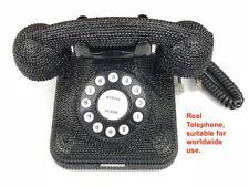 BlingUstyle 1st -generation Unique Design Retro Black Crystal Real Telephone