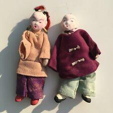 Pair of Mini Vintage Papier Mache Type Chinese Dolls