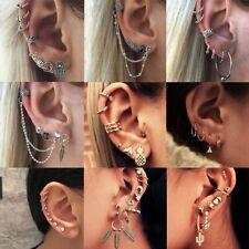 Retro Feather Moon Cross Cactus Punk Ear Clip Stud Earrings Charm Women Jewelry