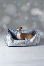 New NEXT Velour Dog Bed bedding washable warm cozy silver chic bling