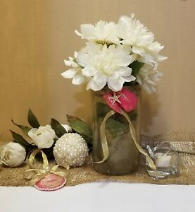 Mason Jar Vase Wedding Centerpiece  Vacation Home  Beach Wedding   Beach Decor